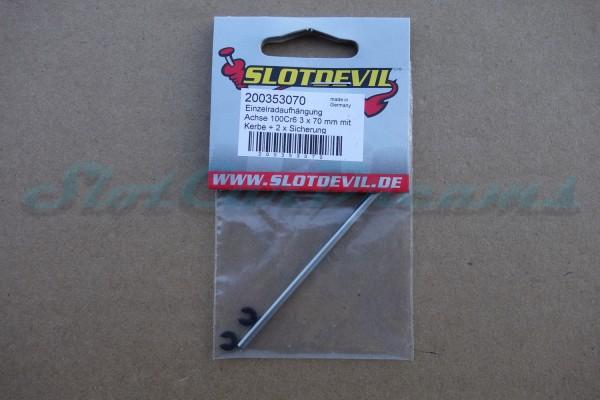 """Slotdevil Achse 3 x 70 mm für Vorderachse mit Nut und Sprengring => """"Stück"""""""