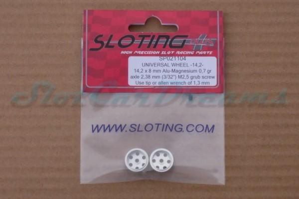 """Sloting Plus Stegfelge 14,2 x 8 mm für Achse 2,38 mm ALU => """"Paar"""""""