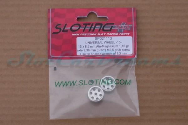 """Sloting Plus Stegfelge 15 x 8,5 mm für Achse 2,38 mm ALU => """"Paar"""""""