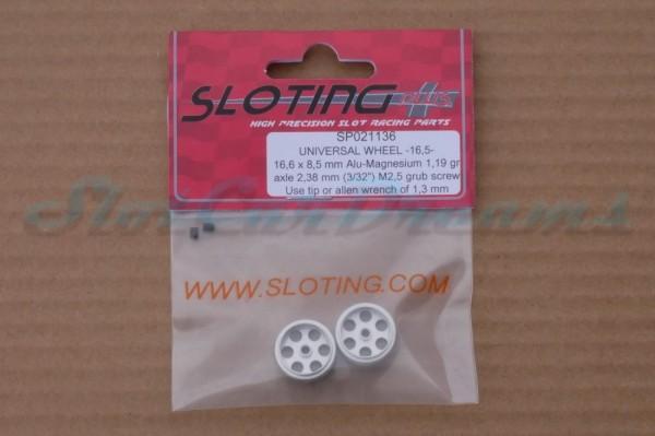 """Sloting Plus Stegfelge 16,5 x 8,5 mm für Achse 2,38 mm ALU => """"Paar"""""""