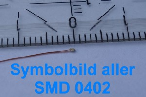 "LED SMD ""Micro 0,9 mm"" 0402 Warm-weiß bedrahtet => ""Stück"""