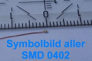 "LED SMD ""Micro 0,9 mm"" 0402 Gelb bedrahtet => ""Stück"""