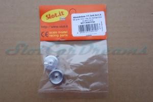 """Slot.it Stegfelge 17,3 x 8,2 mm für Achse 2,38 mm Short Hub ALU => """"Paar"""""""